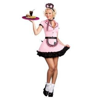 50s Costume Waitress Costume Pink Uniform Service 50s Diner: Clothing