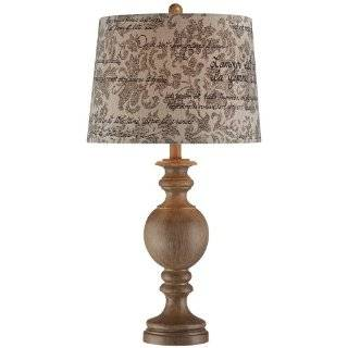 Weathered Wood Finish French Script Shade Table Lamp