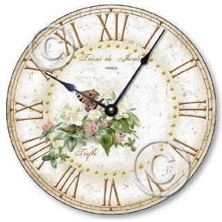 C2040 Vintage Shabby Style 10.5 Inch Butterfly & Clover Blossoms Clock