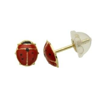 14K Gold Stud Earring Lady Bugs W/ Red CZ Stone Yellow Gold Earring