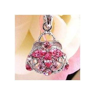 Hot Pink Roses Cell Phone Charm Strap Rhine Stone Cell