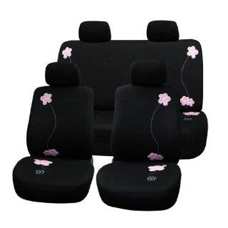 FH FB053114 Floral Design Car Seat Covers Full set Black with Pink