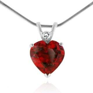 XPY Sterling Silver and 14k Yellow Gold Created Ruby Heart Pendant, 18