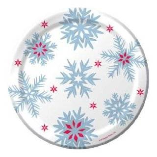 Nordic Snowflakes 9 inch Foil Stock Paper Plates 8 Per