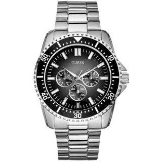 Guess Mens U12618G1 Silver Stainless Steel Quartz Watch with Black