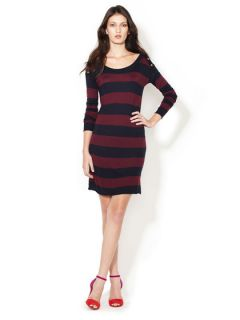 Sabrina Boatneck Striped Sweater Dress by Greylin