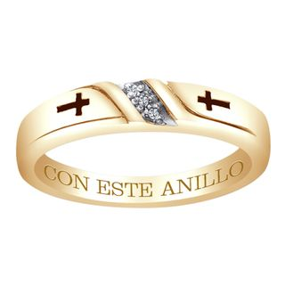 18k Gold over Silver Diamond Accent Con Este Anillo Engraved Band