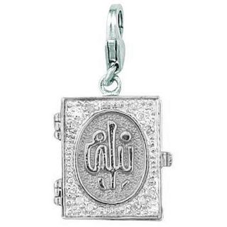 14k White Gold Diamond Koran Charm