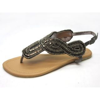 Blue Womens Diez Grey Beaded Gladiator Sandals