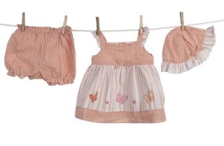 Little Bitty Infant Girls Multi stripe Dress and Hat Set