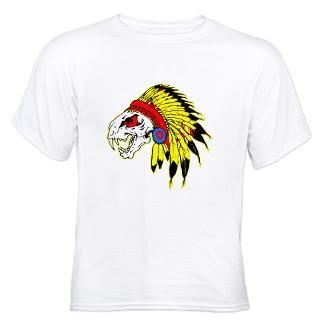 Skull Indian Headdress Jr. Ringer T Shirt