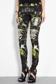 Helmut Lang  Lizard Green Printed Leggings by Helmut Lang