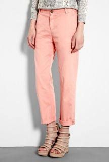 CURRENT/ELLIOTT  Light Coral Captain Relaxed Chinos by CURRENT/ELLIOTT