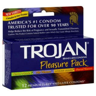 Trojan Premium Lubricated Latex Condoms Pleasure Pack   12 Count