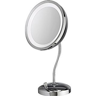 Danielle Lighted Satin Nickel Vanity Mirror with Curved Stem