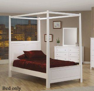 Twin Size Canopy Poster Bed Cape Cod Style in White Finish