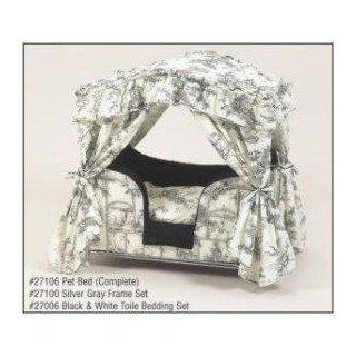 : Black & White Toile Lazy Paws Designer Canopy Pet Bed: Pet Supplies