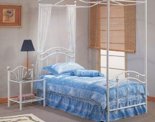 Twin Canopy Metal Bed Headboard Footboard Frame Rails: Home & Kitchen