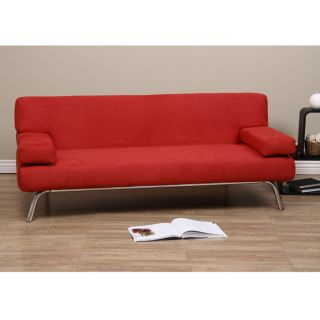 Back Red Microsuede Sofa Bed