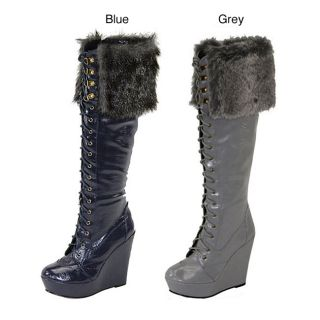 Comfort Womens Knee high Faux Fur Patent Lace up Boots