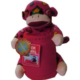 Valentine Pink Sock Animal Monkey with Fleece Blanket: Home & Kitchen