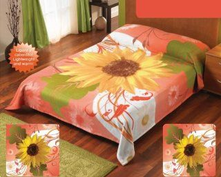 Yellow Orange Sunflowers Fleece Blanket Full Twin Size