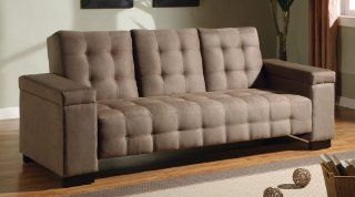 Coaster Sofa Bed with Drop Down Console and Storage in Tan