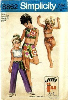 Simplicity 8862 Sewing Pattern Girls Retro Midriff Top