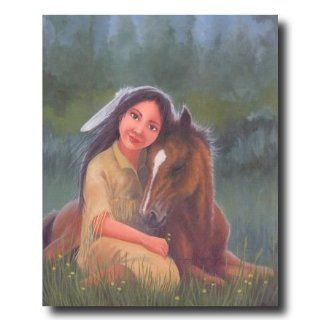 Native American Indian Girl And Horse Animal Picture Art