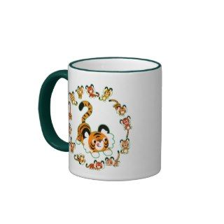 Cute Cartoon Tigers Mandala (green) Mug
