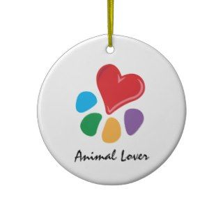 Animal Lover_Heart Paw necklace Christmas Tree Ornament