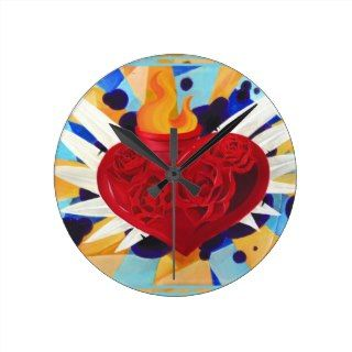 Tattoo Graffitti Style Sacred Heart Clock