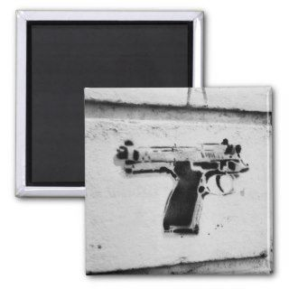 backwards gun stencil graffiti art fridge magnet