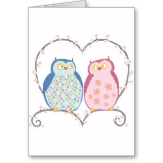Cute Owls in Love Heart Pink Blue Clipart Greeting Cards
