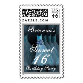 Sweet 16 Birthday Party BLUE Dress Metallic Paper Personalized Invite