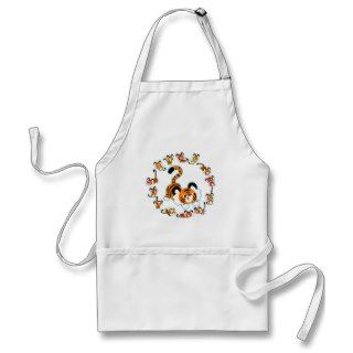 Cute Cartoon Tigers Mandala (Blue) Apron