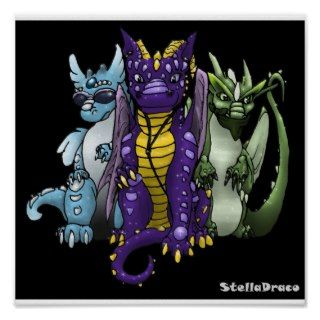 See no Evil Dragons (with sparkles) Print