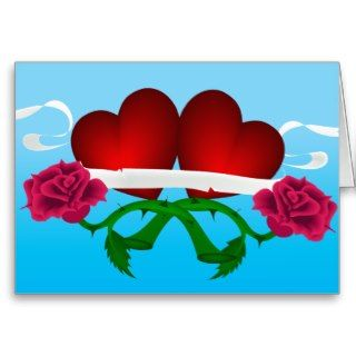 Duo Hearts and Roses with Banner Tattoo Card