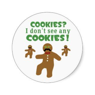 Gingerbread Man Disguise Round Sticker