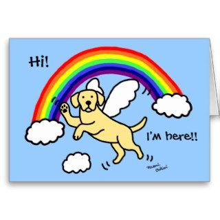 Yellow Labrador Guardian Angel (Rainbow Bridge) Greeting Cards