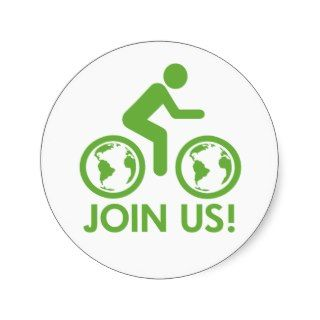 Bicycle Recycle Green Join Round Stickers