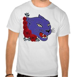 COUGAR AND ROSES TATTOO ART PRINT T SHIRTS