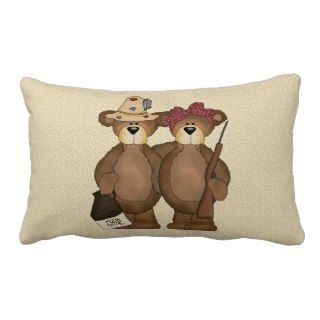 Hillbilly Bear Lumbar Cartoon Pillow