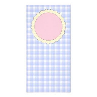 Pink Pie. Strawberry Tart. Blue check. Custom Photo Card