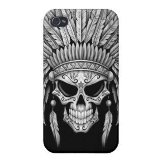 Dark Native Sugar Skull with Headdress iPhone 4 Covers