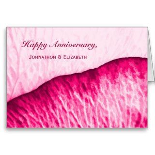 Happy Anniversary To Couple Pink Rose Abstract Greeting Card
