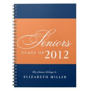Proud seniors orange navy blue stripes class year notebook