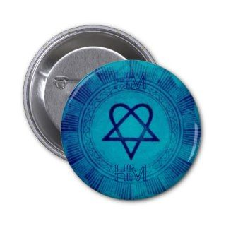 Blue Heartagram thumb, HIM, HIM Pinback Button