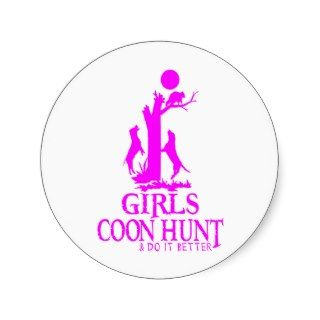 GIRL COON HUNTING ROUND STICKERS