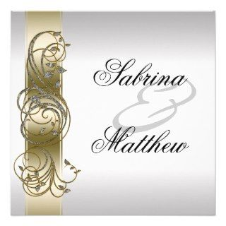 Gold Silver Ornate Formal Wedding Invitiation Custom Invite